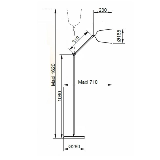 Dimensions - lampadaire Mekano - aluminor