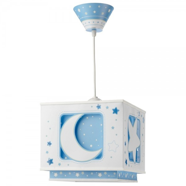 Suspension enfant MOON - bleu - carré 24cm - PVC - Dalber