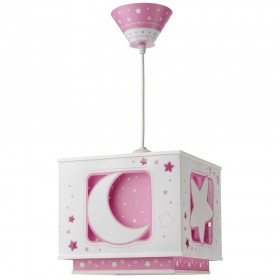 Suspension enfant MOON - rose - carré 24cm - PVC - Dalber