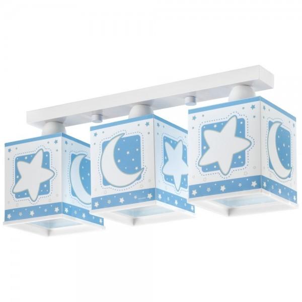Plafonnier enfant MOON- bleu- 3x E27 60W - PVC - Dalber