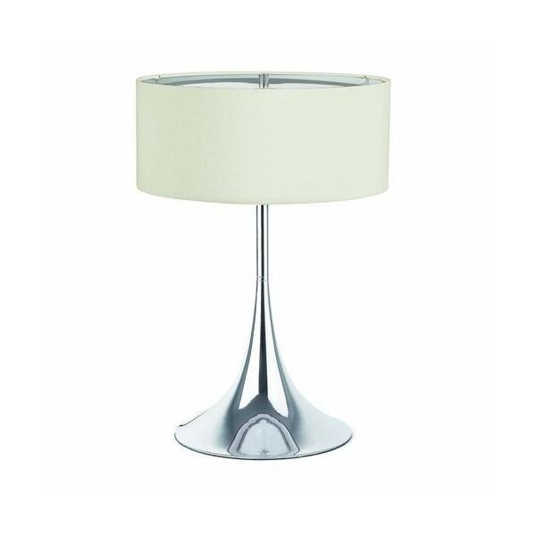 Lampe SIXTI - Beige - H51cm - Tissu et chrome - Faro