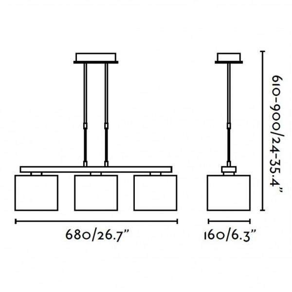 Suspension THANA - téléscopique - H90cm max - Faro
