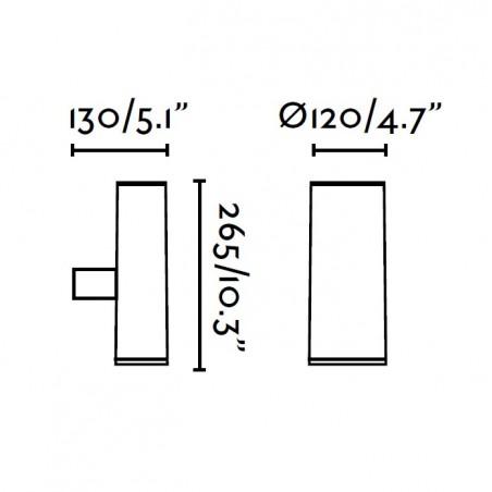 Applique exterieur PISTON - IP44 - alu et verre - Faro