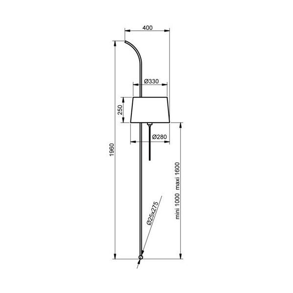 Lampadaire WALL - H196 cm - acier et tissu - Aluminor