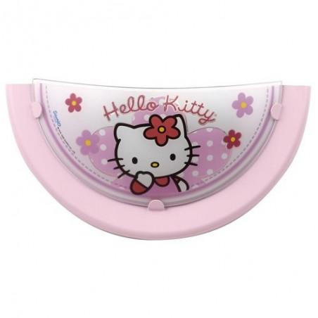 Applique enfant HELLO KITTY - verre rose - L32cm - Dalber