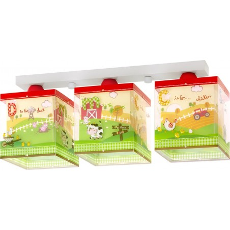 Plafonnier enfant MY LITTLE FARM - 3xE27 60W - PVC - Dalber