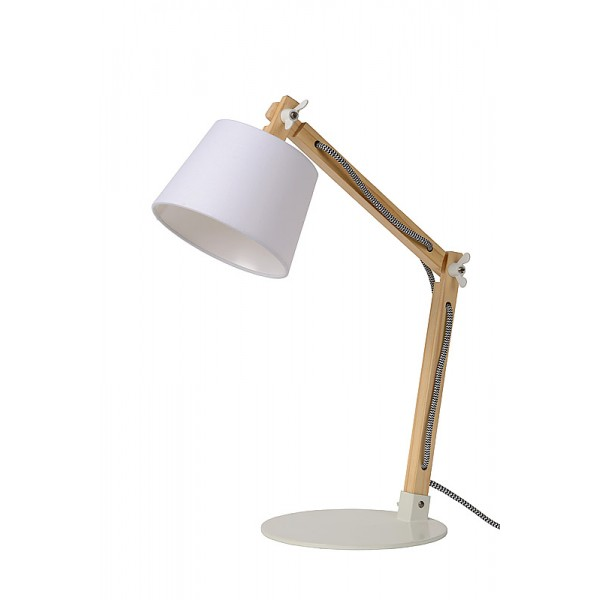 Lampe Olly Bois Tissu Blanc Lucide Luminaire Discount