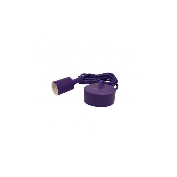 Suspension Douille Silicone E27 - Violet - Vision-EL