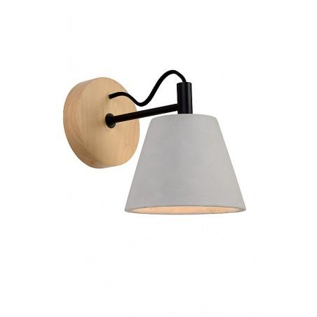 Applique Possio – Ø15 cm – Béton & Bois – Lucide