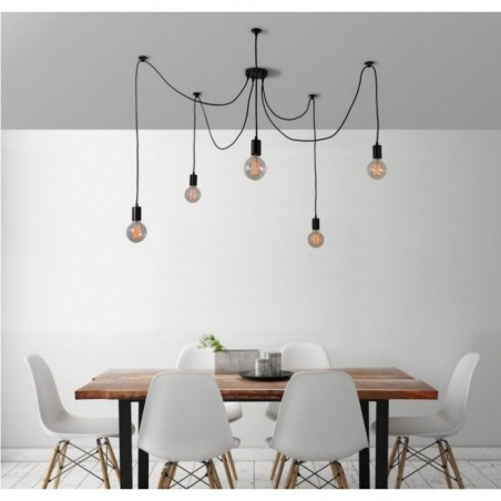 Suspension SPIDER - 5 globes - noir - filament Style