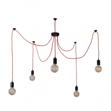 Suspension SPIDER - 5 globes - rouge - filament Style