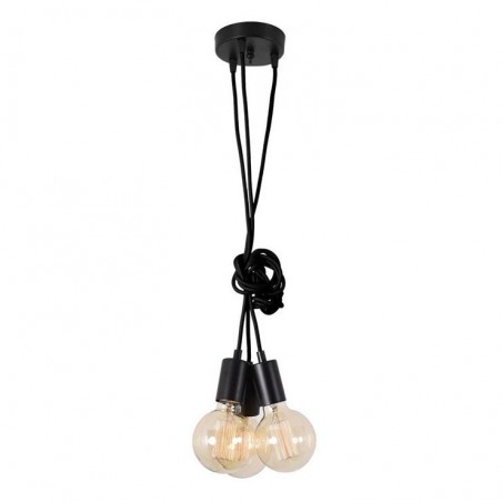 Suspension SPIDER - 3 globes - noir - Filament Style