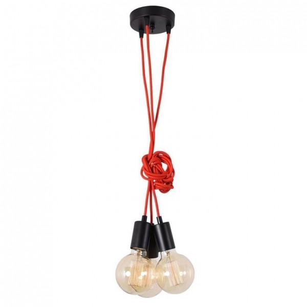 Suspension SPIDER - 3 globes - rouge - Filament Style