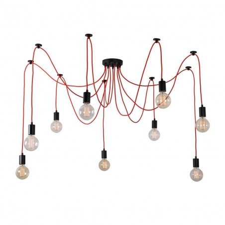 Suspension SPIDER - 9 globes - rouge - filament Style