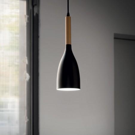 Suspension MANHATTAN - bois/metal - Ø11cm -Ideal-Lux