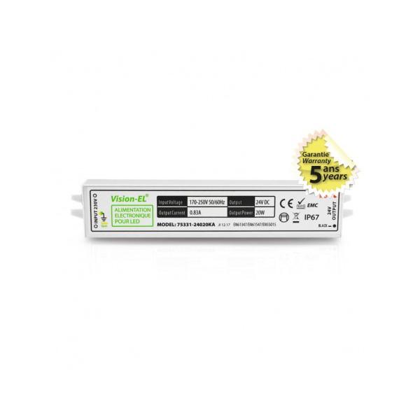 Alimentation LED - 20W - 24V DC - IP67 - Vision-el