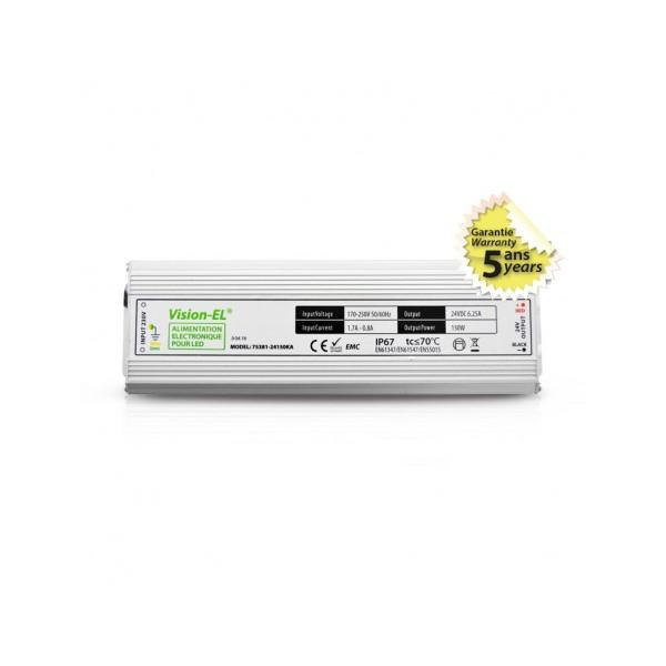 Alimentation LED - 150W - 24V DC - IP67 - Vision-el